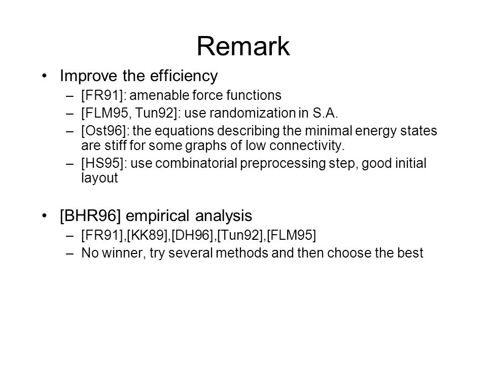 Remark Improve the efficiency [BHR96] empirical analysis